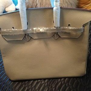 Birkin inspired leather handbag